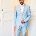 tenue de marié bleue